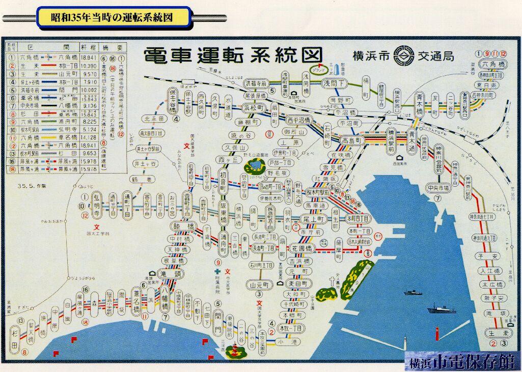横浜市電の地図
